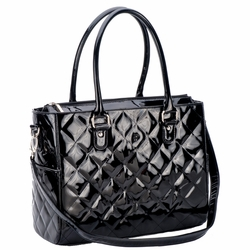 JP Lizzy Quilted Classic Tote Diaper Bag - Black Patent