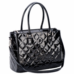 SOLD OUT JP Lizzy Quilted Classic Tote Diaper Bag - Black Patent