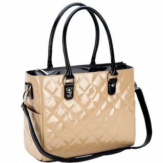 SOLD OUT JP Lizzy Quilted Classic Tote Diaper Bag - Crema Patent