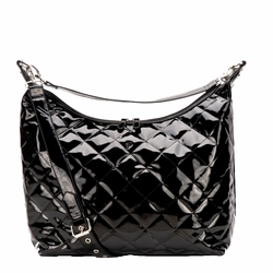 JP Lizzy Quilted Hobo Diaper Bag - Black Patent