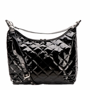 TEMPORARILY OUT OF STOCK JP Lizzy Quilted Hobo Diaper Bag - Black Patent