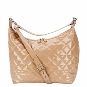 JP Lizzy Quilted  Hobo Diaper Bag - Caramel Patent