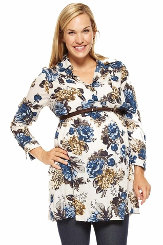 SOLD OUT Jules And Jim Belted Floral Maternity Nursing Tunic