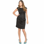Jules And Jim Fitted Pleather Trim Maternity Dress
