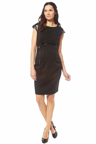 SOLD OUT Jules And Jim Fitted Pleather Trim Maternity Dress
