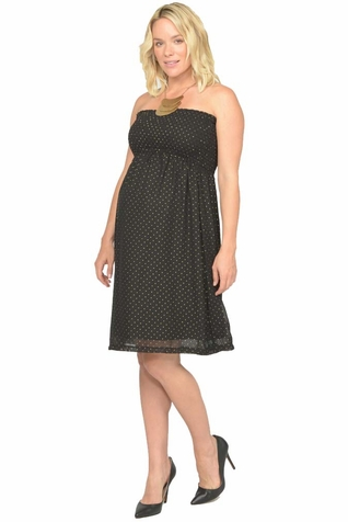 SOLD OUT Jules And Jim Strapless Gold Dot Maternity Dress