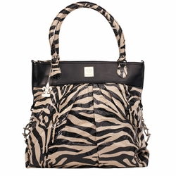 Kalencom City Slick The Wild Side Tote Diaper Bag - Black & Cream Tiger