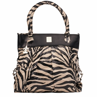 SOLD OUT Kalencom City Slick The Wild Side Tote Diaper Bag - Black & Cream Tiger
