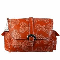 Kalencom Coated Buckle Diaper Bag - Matte Stitches Orange