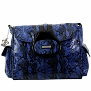 Kalencom Elite Faux Snakeskin Textured Diaper Bag - Delphi Blue/Black