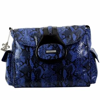 SOLD OUT Kalencom Elite Faux Snakeskin Textured Diaper Bag - Delphi Blue/Black