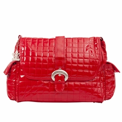 Kalencom Monique Patent Buckle Diaper Bag - Red