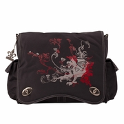 Kalencom Sam's Canvas Messenger Diaper Bag - Black/Red Dragon
