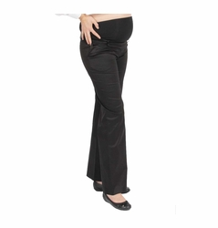 L'Avenue des Bebes Wide Leg Sateen Maternity Pants - Black