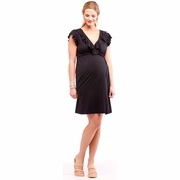LA Made Maternity Faux Wrap Dress with Ruffle