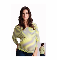 LA Made Striped Cross Back Pullover Maternity Top