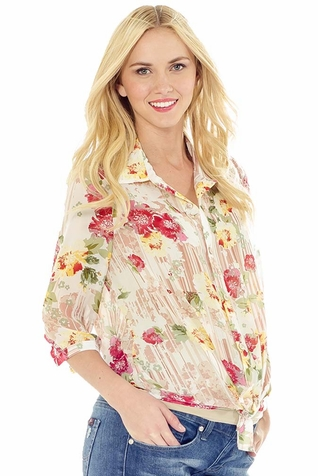 Lilac Amy Floral Chiffon Maternity Button Down Shirt