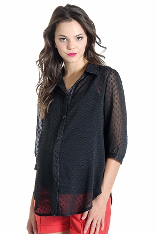 Lilac Amy Mixed Media Maternity Button Down Shirt