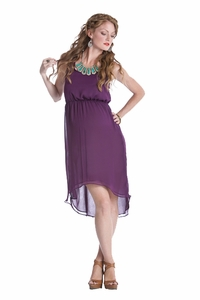 Lilac Avery Aymmetrical Hem Chiffon Maternity Dress