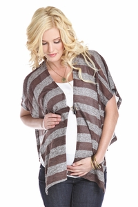 SOLD OUT Lilac Cocoa Striped Maternity Button Poncho