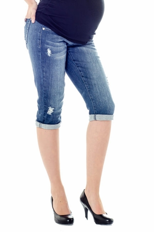 Lilac Cropped Maternity Jeans