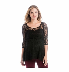 Lilac Laila 3/4 Sleeve Lace Maternity Top