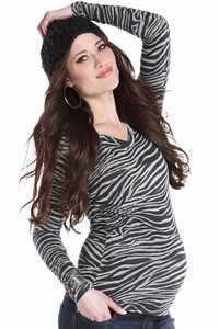 Lilac Maddy Zebra V-Neck Maternity Top
