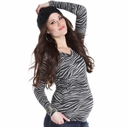 Lilac Maddy Zebra V-Neck Top