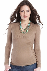 SOLD OUT Lilac Megan Long Sleeve Side Ruche Maternity And Nursing Top