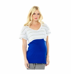 Lilac Micah Color Block Pocket Maternity T-Shirt