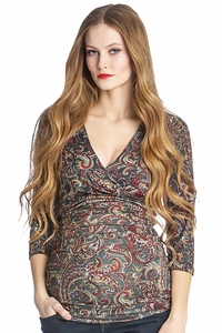 Lilac Michelle Maternity And Nursing Crossover Top - Paisley Print