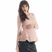 Lilac Morgan Peplum Long Sleeve Maternity Top