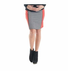 Lilac Paneled Pencil Maternity Skirt - Houndstooth