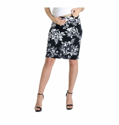 Lilac Pencil Maternity Skirt - Floral