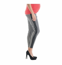 Lilac Pleather Trim Maternity Leggings