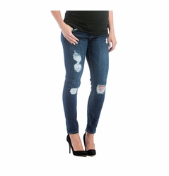 Lilac Skinny 5 Pocket Maternity Jeans - Medium Wash Distressed