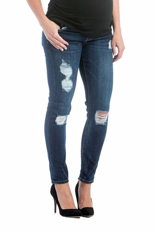 SOLD OUT Lilac Skinny 5 Pocket Maternity Jeans - Medium Wash Distressed