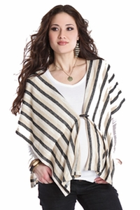 Lilac Striped Maternity Button Poncho