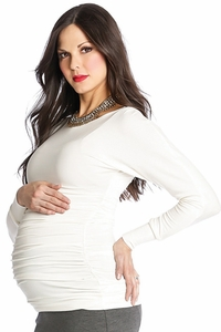 Lilac Taylor Long Sleeved Boat Neck Maternity Top