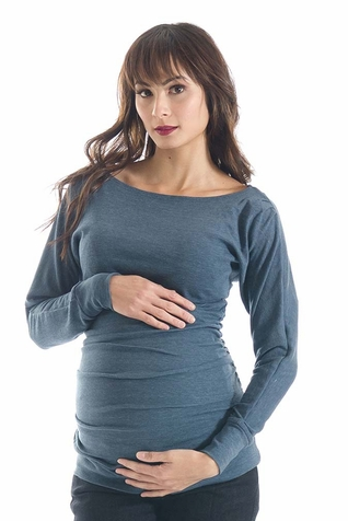 Lilac Taylor Sweater Knit Boat Neck Maternity Top