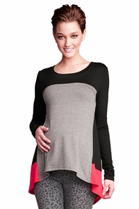 SOLD OUT Maternal America Asymmetrical Color Block Maternity Top