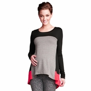Maternal America Asymmetrical Color Block Maternity Top