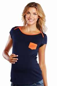 Maternal America Cap Sleeve Contrast Maternity Tee With Pocket