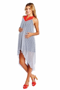 Maternal America Chiffon Asymmetrical Hem Maternity Dress