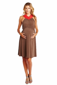 Maternal America Color Block V Halter Maternity Dress