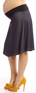 Maternal America Denim Jersey Maternity Skirt