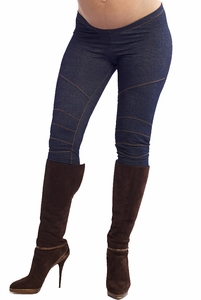 Maternal America Denim Moto Cross Leggings