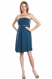 Maternal America Embellished Jacquard Strapless Maternity Dress