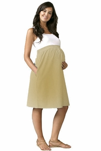 Maternal America Empire Cotton Maternity Dress - Khaki