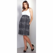 Maternal America Empire Cotton Maternity Dress - White/Black